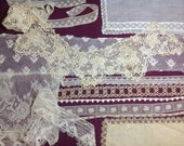 Lot of Antique lace trims for repurposing including lace collar