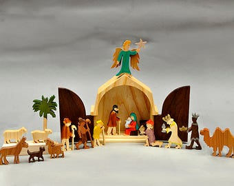 The Christmas Story Unique Nativity Set Wooden Nativity Scene Wood Creche Manger Barn Waldorf Holiday Christmas Gift Made in America Folkart