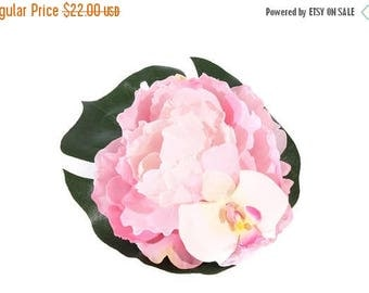 FLASH SALE Large Pale Pink Peony and Orchid Tropical Pinup Hair Flower Fascinator Clip