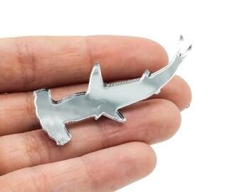 Hammerhead Shark Silver Mirrored Acrylic Brooch Pin