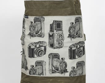 Waxed Canvas Bag With Vintage Camera Print