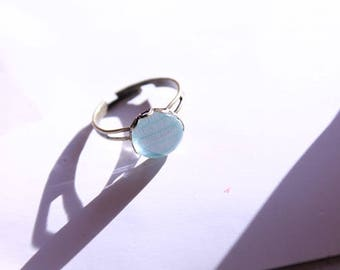 Geometric Pastel Mint Green Women Gift Guide for Mom or Daughter Bohemian Dainty Glass Cabochon in 10mm Ring Base