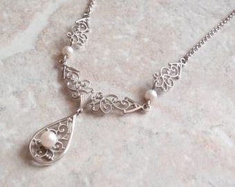 Pearl Lavalier Necklace Van Dell Sterling Silver Rhodium Filigree Wedding Bridal Vintage V0809