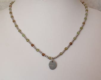 Believe Necklace Green Brown Beaded Silver Tone Ichthus Vintage V0862