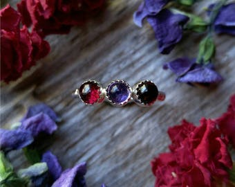 Garnet Amethyst Ring Size 4 Sterling Silver Red Purple Stone Gemstone January February Birthstone 925 Jewelry