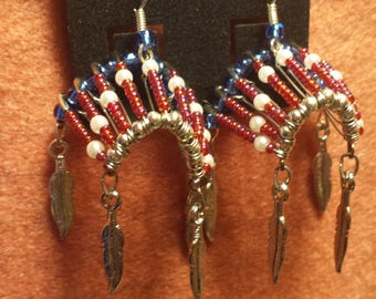 Indian Headress Earrings, red white blue, Chicago Cubs colors