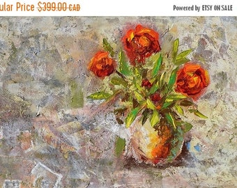 70% off ORIGINAL Oil Painting flower painting texture impasto Modern  roses vase colorful painting home decor handmade painting gift ART MAR