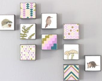 woodland nursery decor, choose 10 designs, forest animals nursery art, animal prints, geometric prints, hedgehog, opossum redtilestudio boho