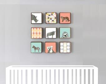 safari nursery wall art- nine set of 5x5 art blocks- nursery decor, tiger, lion, animal prints, safari decor, geometric print, redtilestudio