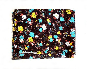 Striking Peter Pan Seersucker Fabric Aqua Daffodil Yellow Burnt Orange on Deep Brown Floral