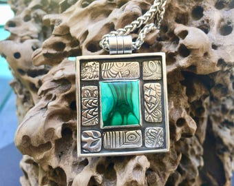 On RESERVE for MJ - Fine Silver and Malachite Pendant - PMC Squares and Malachite - Malachite Motifs