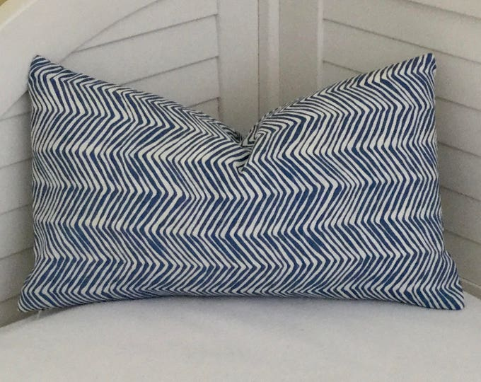 Quadrille China Seas PETITE Zig Zag in Navy and White Designer Pillow Cover 12x20 FREE SHIPPING