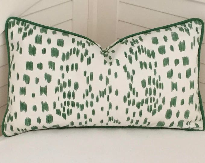 Brunschwig and Fils Les Touches Green Animal Print on Both Sides Designer Pillow Cover with Green Piping - Square, Lumbar and Euro Sizes