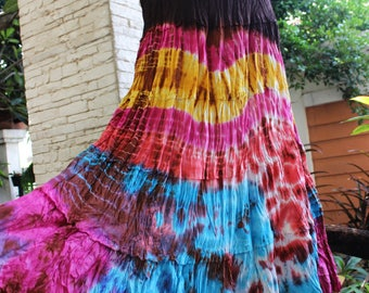 ARIEL on Earth - Boho Gypsy Long Tiered Ruffle Patchwork Tie Dyed Cotton Skirt - TD1706-01
