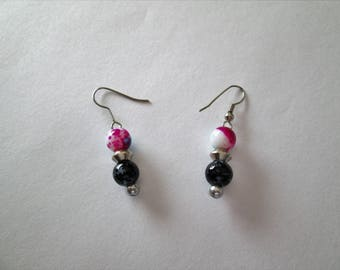 Beaded earrings, glass and metal beads, french hook, pierced