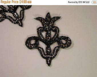 ON SALE Silver and Gunmetal Fleur de Lis Motif Beaded Applique--One Piece
