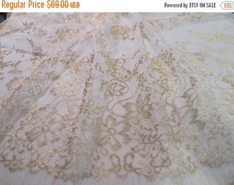 ON SALE Metallic Gold and Ivory Delicate Floral Design Lace Fabric--One Yard