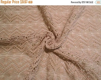 ON SALE SPECIAL--Beige Macrame Style Faux Jute Polyester Lace Fabric--One Yard