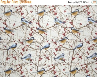ON SALE Chickadee Print Pure Cotton Fabric from Timeless Treasures--One Yard