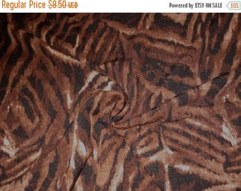 ON SALE REMNANT--Brown Animal Print Sweatery Polyester Knit Fabric--2.5 Yards