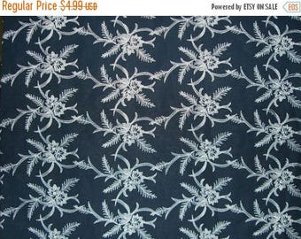 ON SALE SPECIAL--Fabulous Ivory on Black Floral Design Embroidered Pure Linen -One Yard