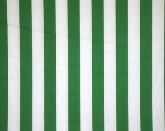Kelly Green And White Stripe Print Pure Cotton Fabric By The Yard