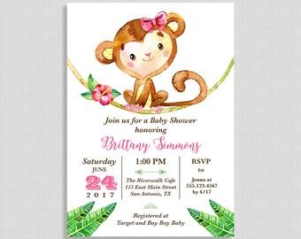 Monkey Baby Shower Invitation, Jungle Baby Shower Invite, Pink, Baby Girl, DIY PRINTABLE