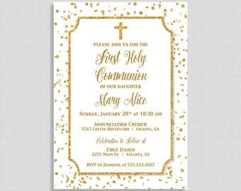 Baby dedication invitation baby girl baptism invite first communion invitation white gold glitter confetti holy communion invite gender neutral solutioingenieria Choice Image