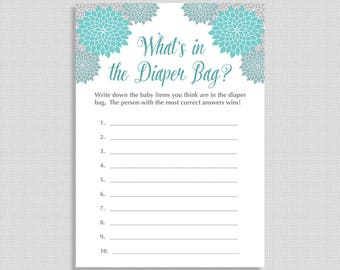 Baby Shower Diaper Bag Game, Guess What's in the Diaper Bag Game, Teal Grey Mums, Neutral, INSTANT PRINTABLE
