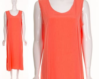 90's MINIMALIST PEACH Shift Maxi Dress Simple Summer Sleeveless Dress Medium