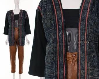 Vintage INDIGO Hand Embroidered Jacket Ethnic Hand Woven Jacket Wearable Textile Art Jacket Open Style REVERSIBLE Jacket