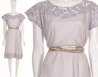 MOVING SALE Vintage 70's Lavender Purple Floral Cut Lace Dress Spring Dress Bali Cut out Lace Dress Small Medium