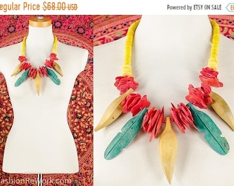 MOVING SALE Carmen Miranda Necklace Tropical Fruit Necklace Banana Necklace Fruit Lover Necklace Bib Wood Bead Necklace