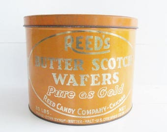 Vintage Reed's Butter Scotch Tin, Butterscotch Candy Tin, Vintage Advertising Tin