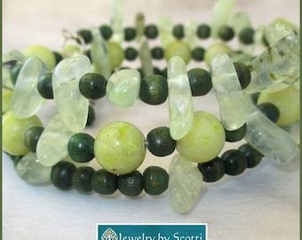 Green Prehnite Jade Bracelet, Gemstone Wood Bracelet, Wrap Coil Prehnite Bracelet, Green Stacking Bracelet, Matching Necklace Available