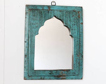 Moroccan Mirror Vintage Wood Framed Mirror Reclaimed Dark Turquoise Blue Wall Art
