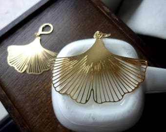 Raw Brass Gingko Earrings, Available in Large and Small
