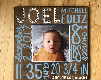 Selah Signs Custom Hello Baby Birth Announcement Sign Hand Painted Nursery Decor Birth Statistics Baby's Room Wood Sign