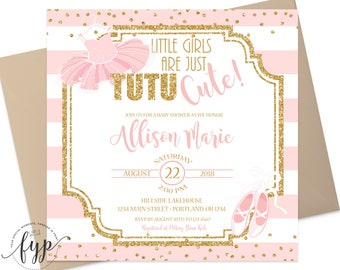 Tutu Baby Shower Invitations   Baby Shower Invitation Girl   Pink And Gold Baby  Shower