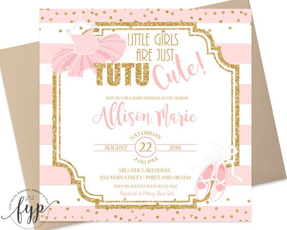 Tutu baby shower invitations baby shower invitation girl pink il570xn filmwisefo Gallery