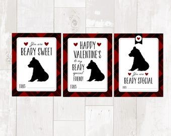 Valentine Printable Cards - plaid bears