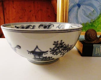 Vintage Chinoiserie Blue and White Bowl,Palm Beach Decor, Asian Decor, Chinoiserie, Hollywood Regency