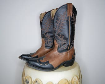 Vtg 80s black and brown stiched tribal design cowboy boots size 7.5