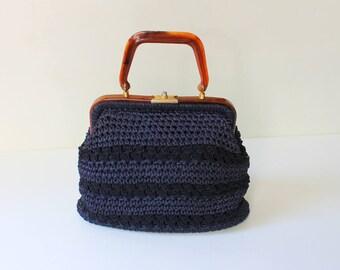 1940s Crochet Handbag with Bakelite Handle // 40s Vintage Blue Top Handle Woven Purse