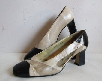 Vintage 80s MARGARET JERROLD Shoes Beige Black Cream Two Tone Appliqué Cut Out 1980s Leather Pumps 7.5M