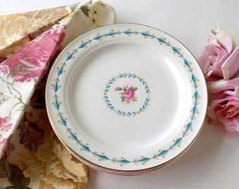 Shabby Floral Plates. Cottage Roses Wall Display. Romantic Farmhouse Decor. Vintage Housewares. Harmony House Hall China.