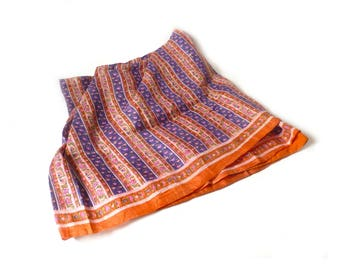 """Bold Vintage Indian Sari Textile ... Patterned Orange and Blue Cotton Fabric, Bohemian Hippie Blanket, Striped Floral Cloth, 45"""" x 208"""""""