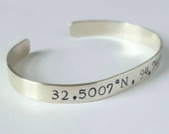Sterling Silver Coordinates Cuff, Personalized Bangle, Custom braclet, Inspirational Bracelet, Hand Stamped, Personal Message, Birthday Gift