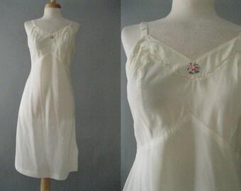 Cream Full Slip - 50s Vintage Taffeta Slip -1950s Lingerie - Side Zipper - Size S - Full Length Slip - Boudoir Photos