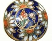 Antique Button ~ Metal Button ~ Enamel Button ~ Sweet Floral Daisy Enamel Button